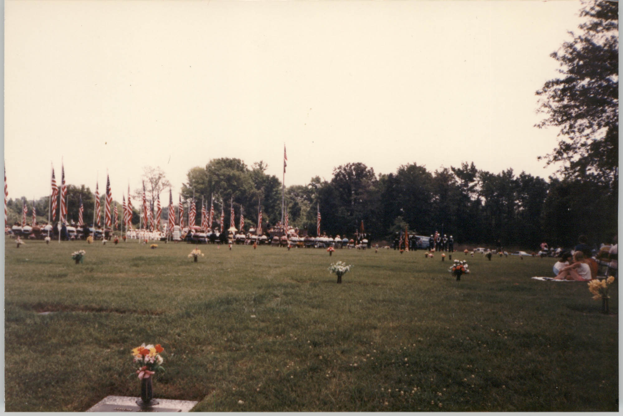 Photograph of a Ceremony at the Avenue of Flags in the Veterans Garden