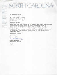 Letter from Lewis Bateman to Millicent Brown, February 14, 1994