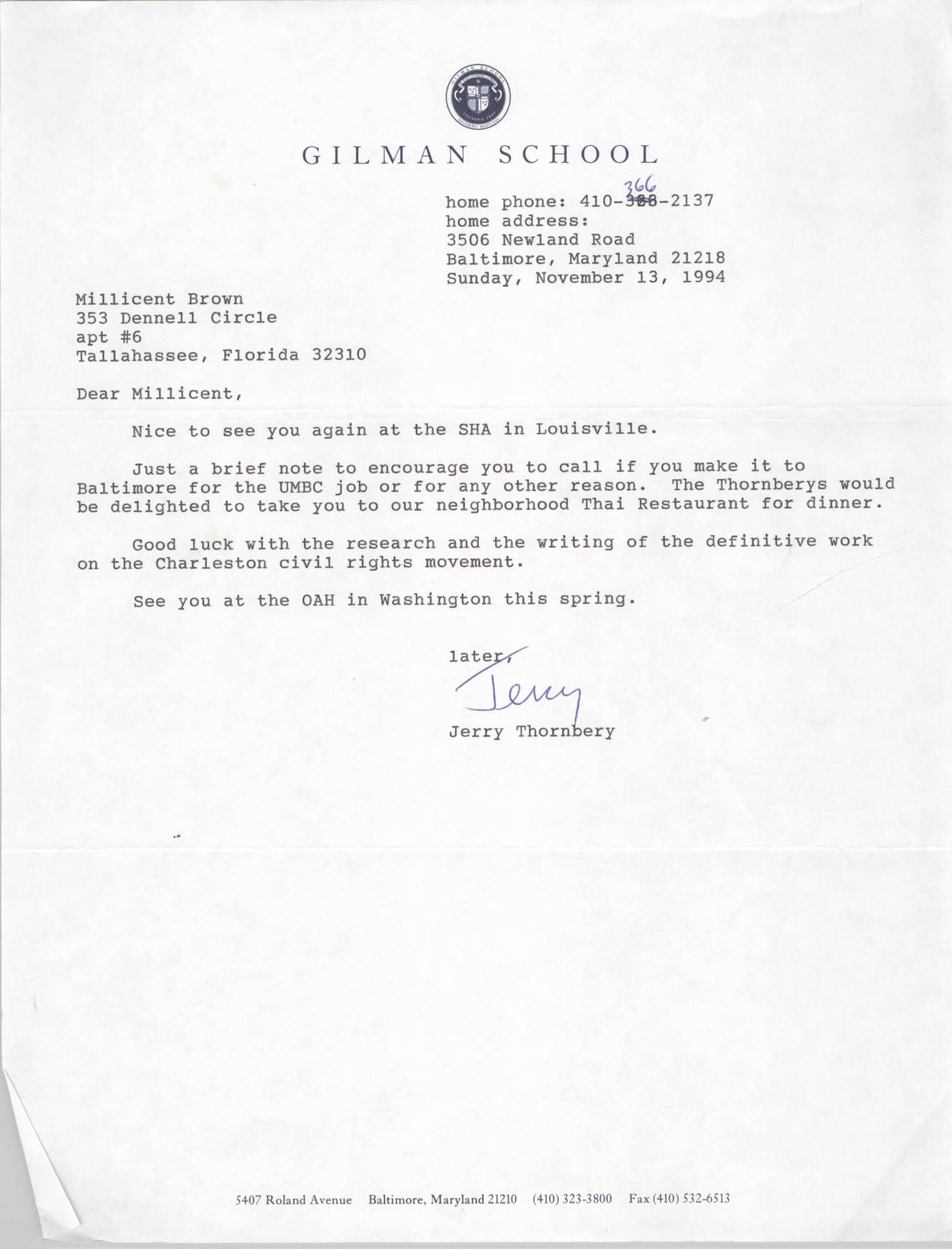 Letter from Jerry Thornberry to Millicent Brown, November 13, 1994