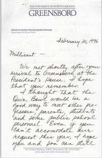 Letter from Carolyn Moore to Millicent Brown, February 21, 1996