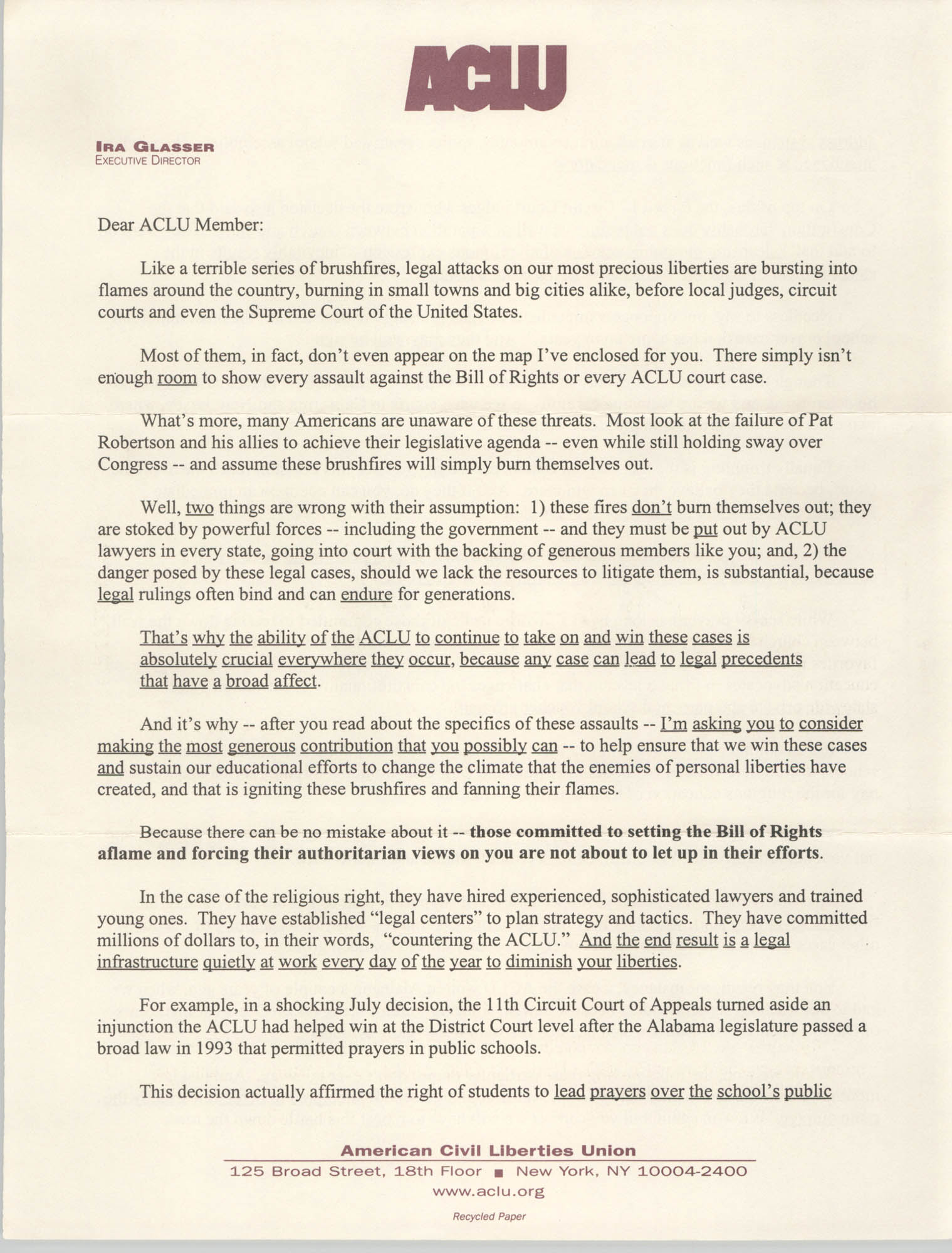 Letter from Ira Glasser to ACLU Members, 1997