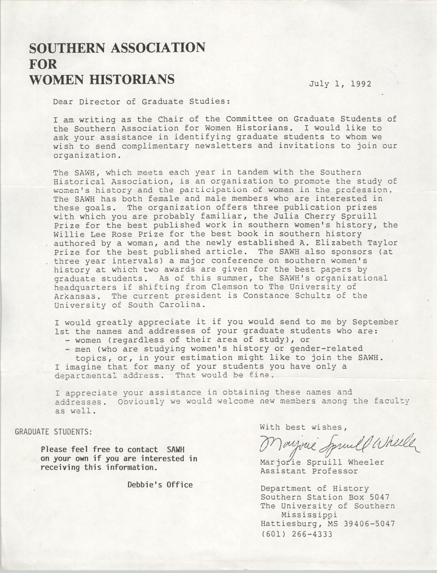Letter from Southern Association for Women Historians, July 1, 1992