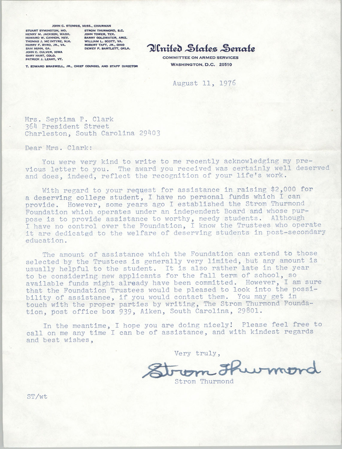 Letter from Strom Thurmond to Septima P. Clark, August 11, 1976