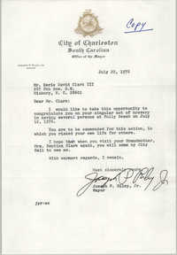 Letter from Joseph P. Riley, Jr. to Septima Clark, July 22, 1976