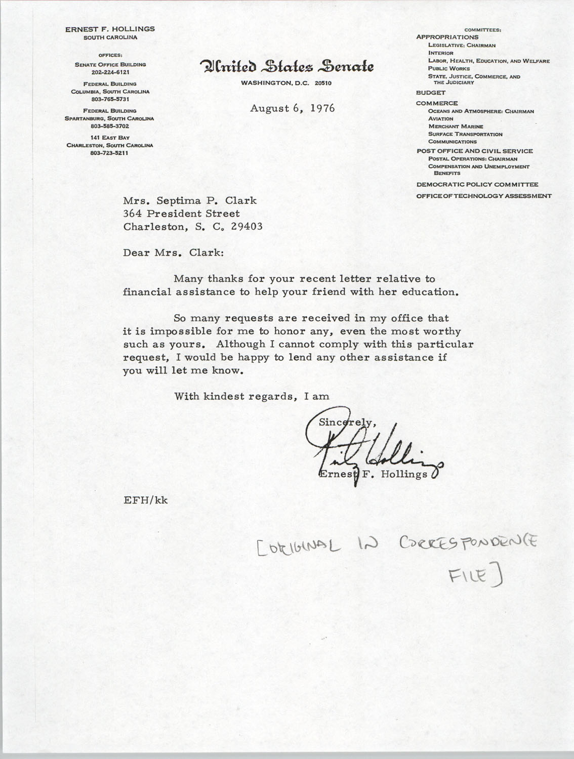 Letter from Ernest F. Hollings to Septima P. Clark, August 6, 1976