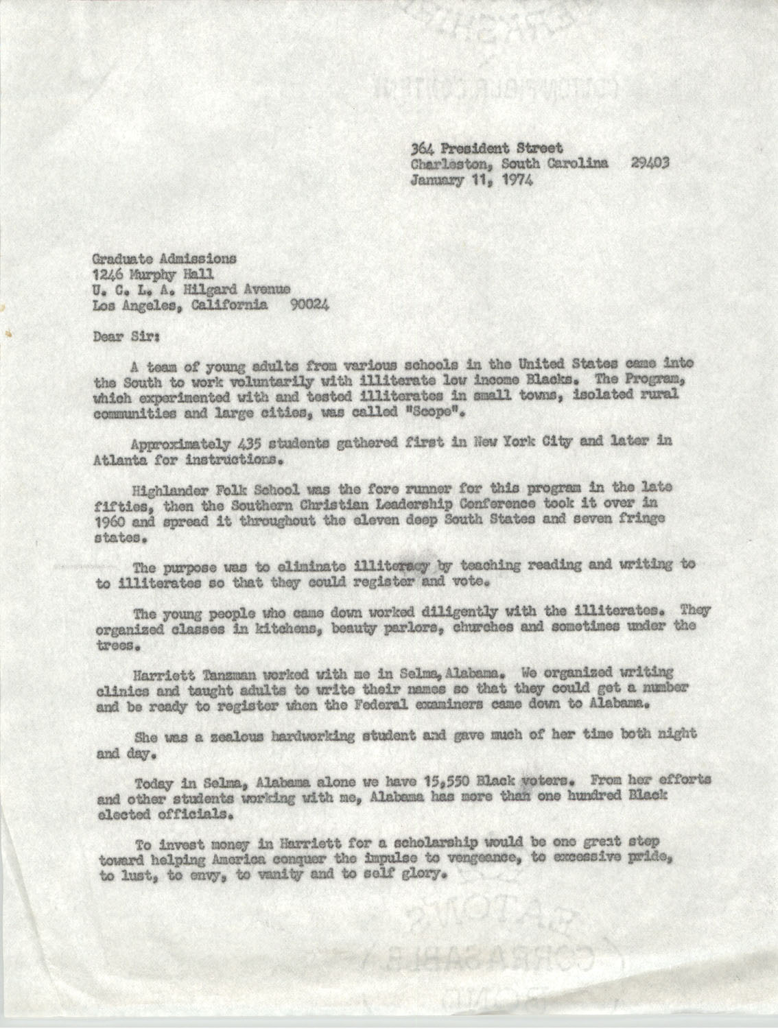 Letter from Septima P. Clark to Graduate Admissions at U.C.L.A., January 11, 1974
