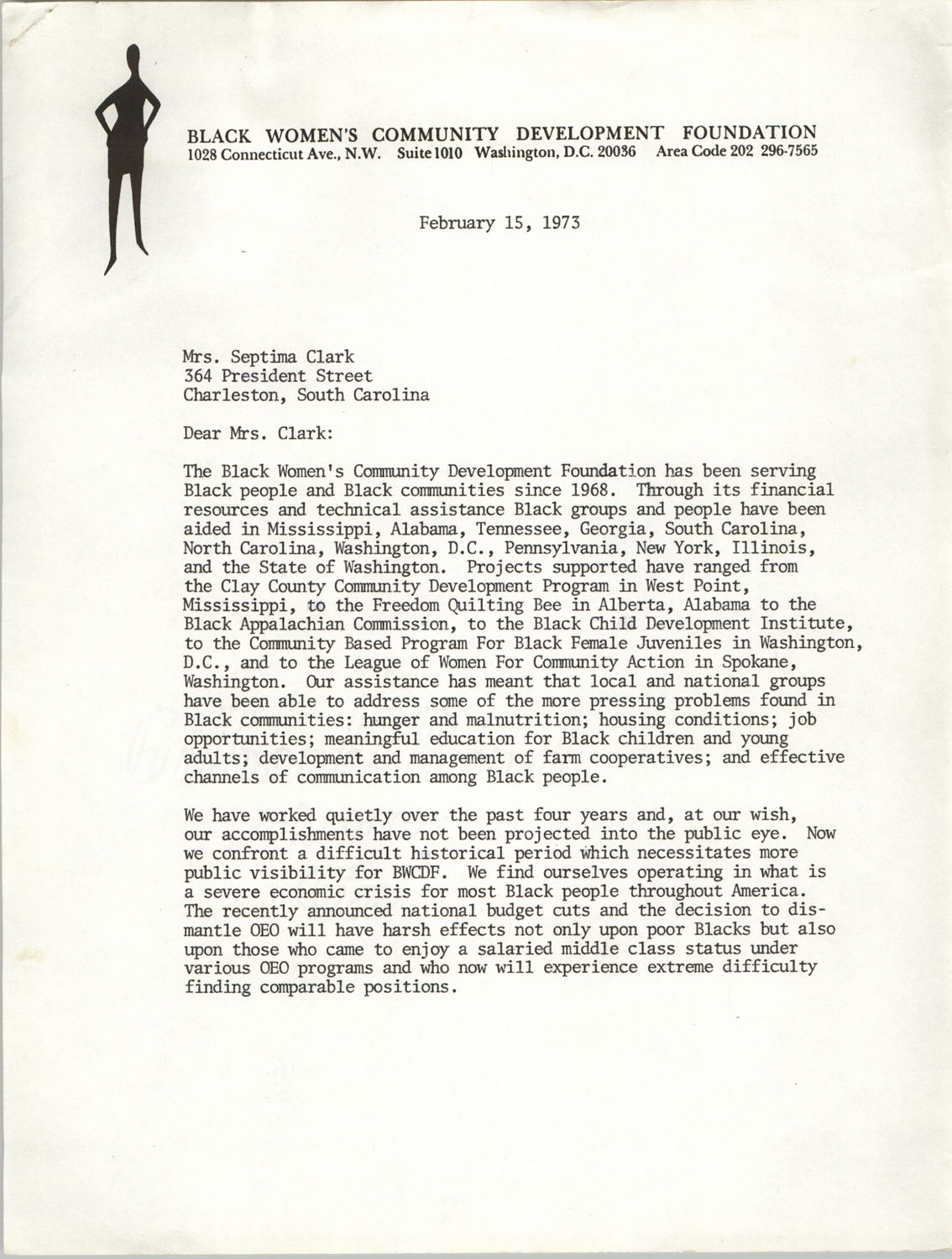 Letter from Inez Smith Reid to Septima P. Clark, February 15, 1973