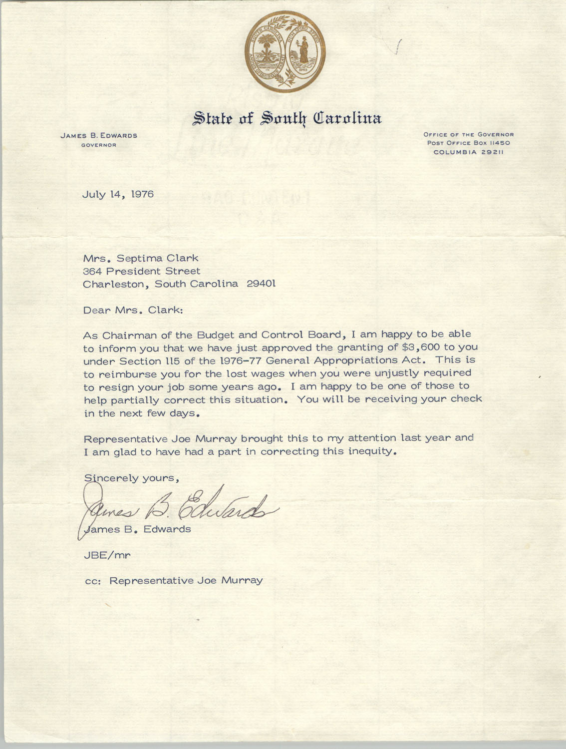 Letter from James B. Edwards to Septima P. Clark, July 14, 1976