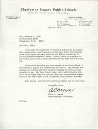 Letter from Alton C. Crews to Septima P. Clark, July 20, 1976