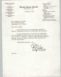 Letter Ernest F. Hollings to Septima P. Clark, August 6, 1976