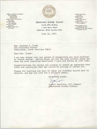 Letter from Lonnie Hamilton, III to Septima P. Clark, July 31, 1976