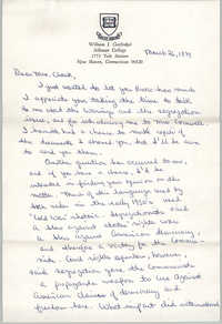 Letter from William I. Garfinkel to Septima P. Clark, March 26, 1974