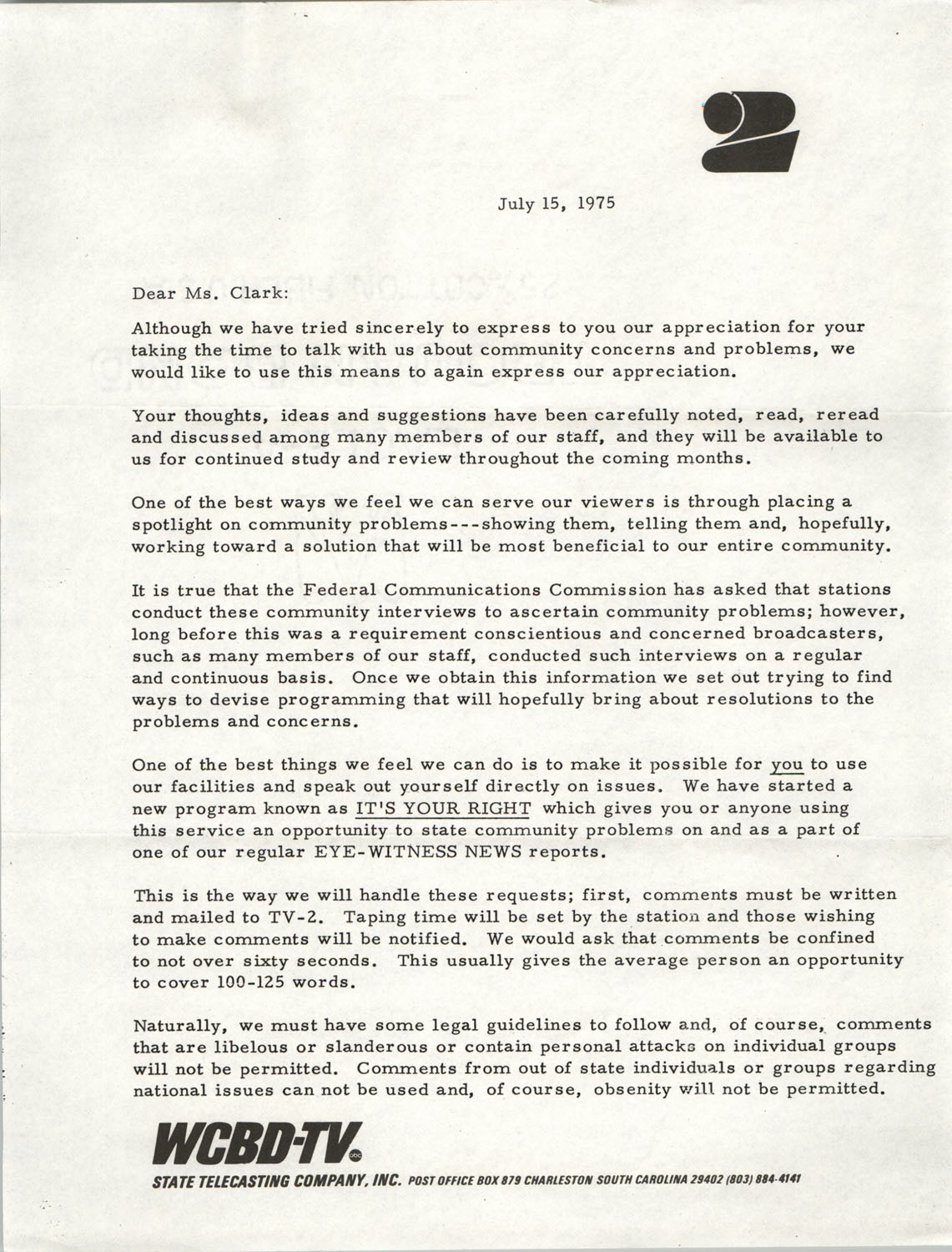 Letter from Carter C. Hardwick, Jr. to Septima P. Clark, July 15, 1975