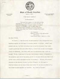 Letter from Jim Clyburn, April 1974