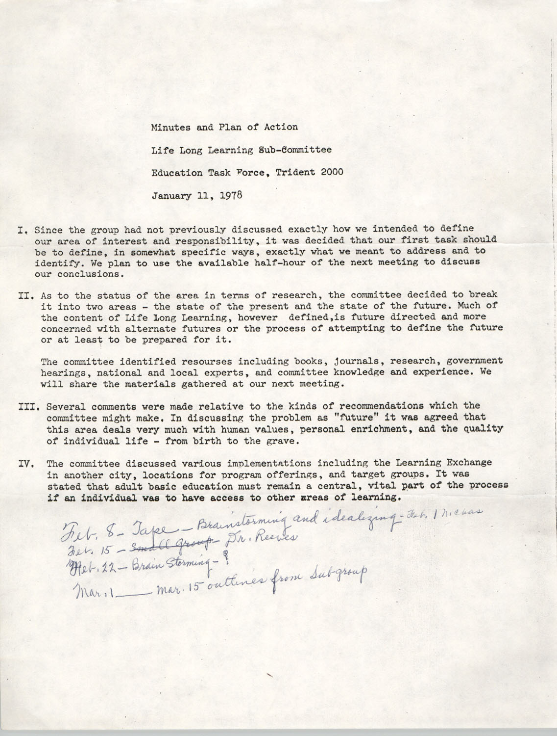 Minutes and Plan of Action at Life Long Learning Sub-Committee Education Task Force, January 11, 1978