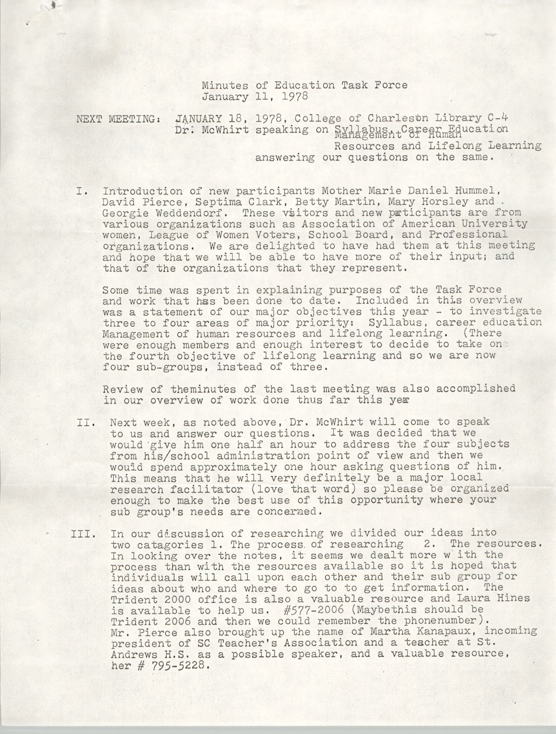 Minutes of the Trident Education Task Force, January 11, 1978