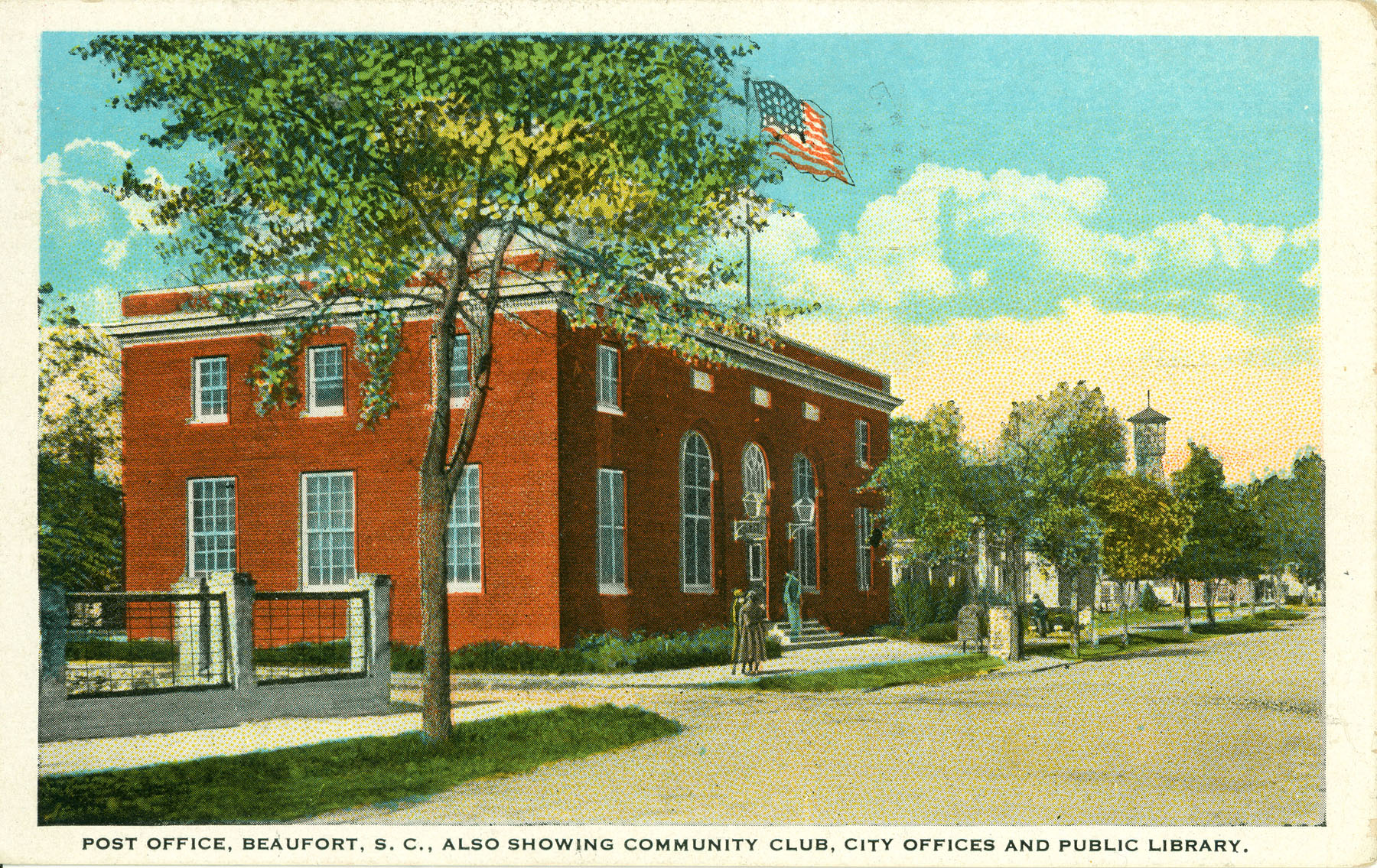 Post Office, Beaufort, South Carolina Also Showing Community Club, City Offices and Public Library