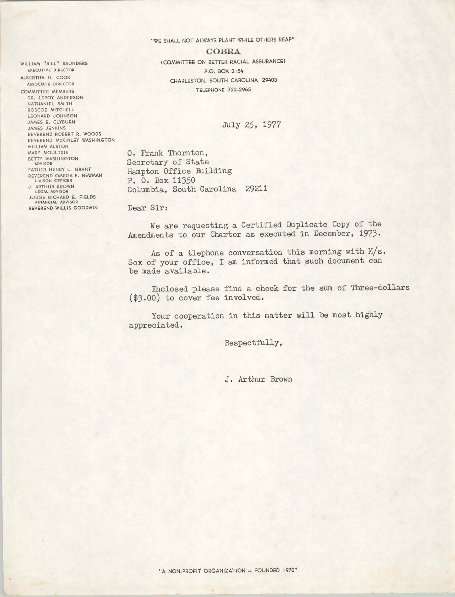 Letter from J. Arthur Brown to O.Frank Thornton, July 25, 1977