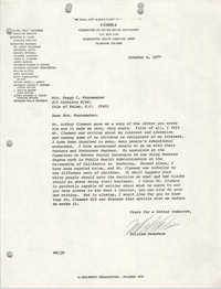 Letter from William Saunders to Peggy C. Wannamaker, October 4, 1977