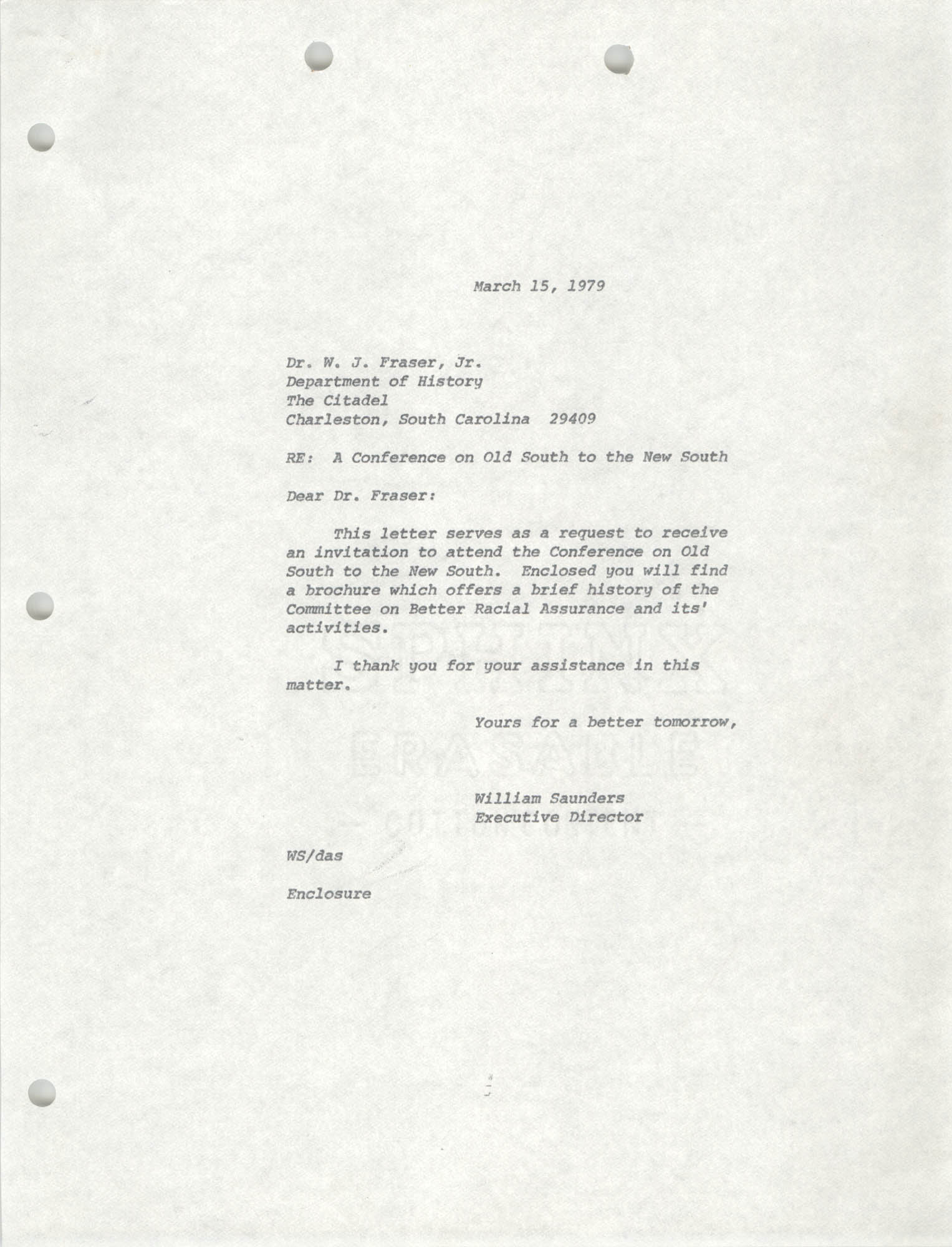 Letter from William Saunders to Dr. W. J. Fraser, Jr., March 15, 1979