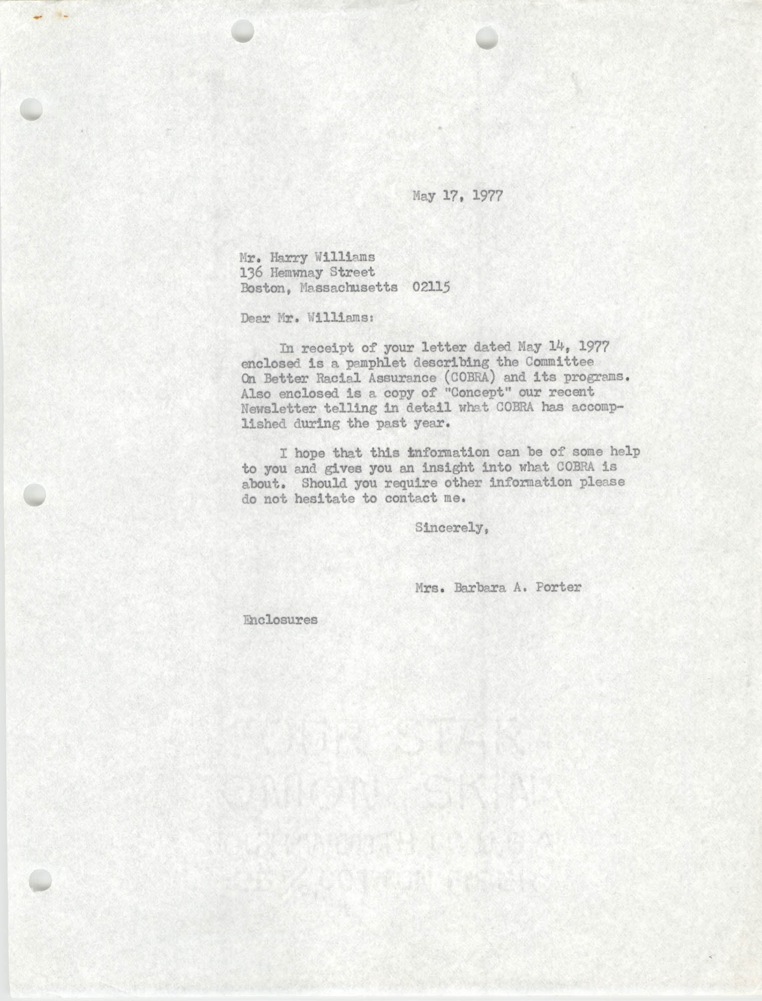 Letter from Barbara A. Porter to Harry Williams, May 17, 1977