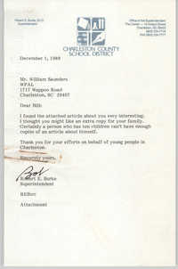 Letter from Robert E. Burke to William Saunders, December 1, 1989