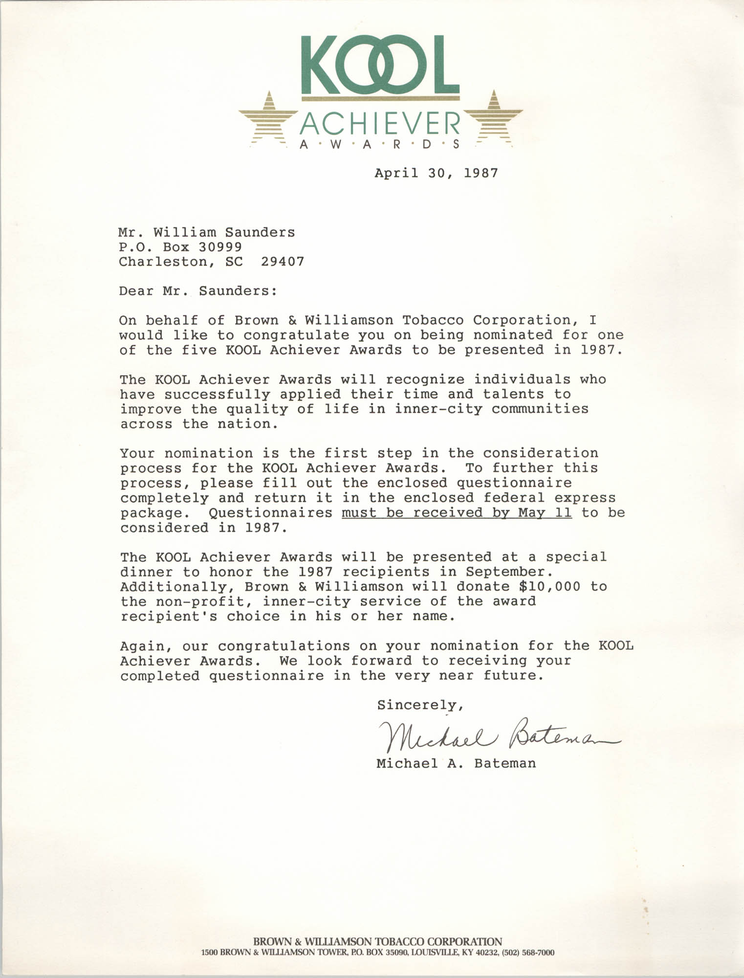 Letter from Michael A. Bateman to William Saunders, April 30, 1987