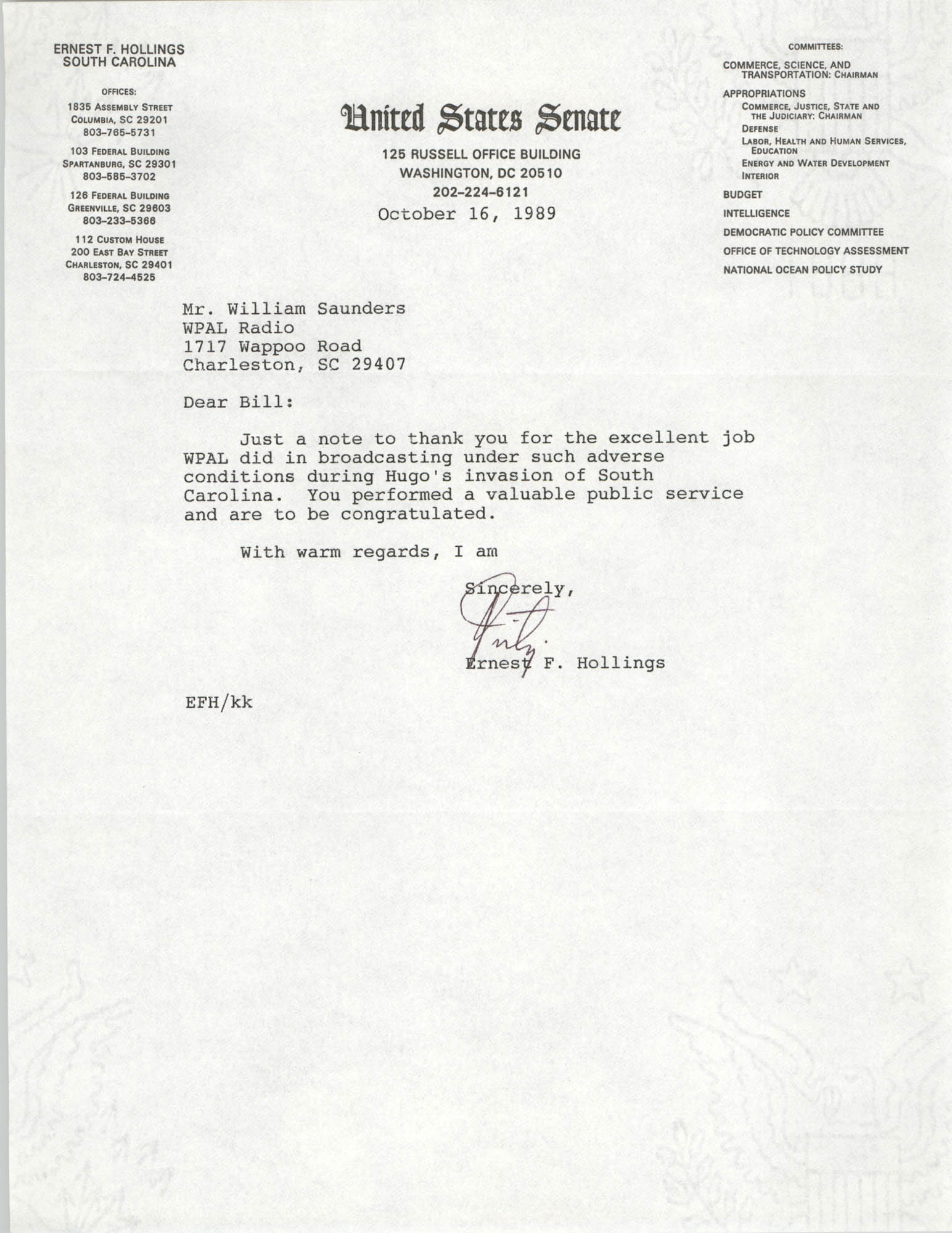 Letter from Ernest F. Hollings to William Saunders, October 16, 1989