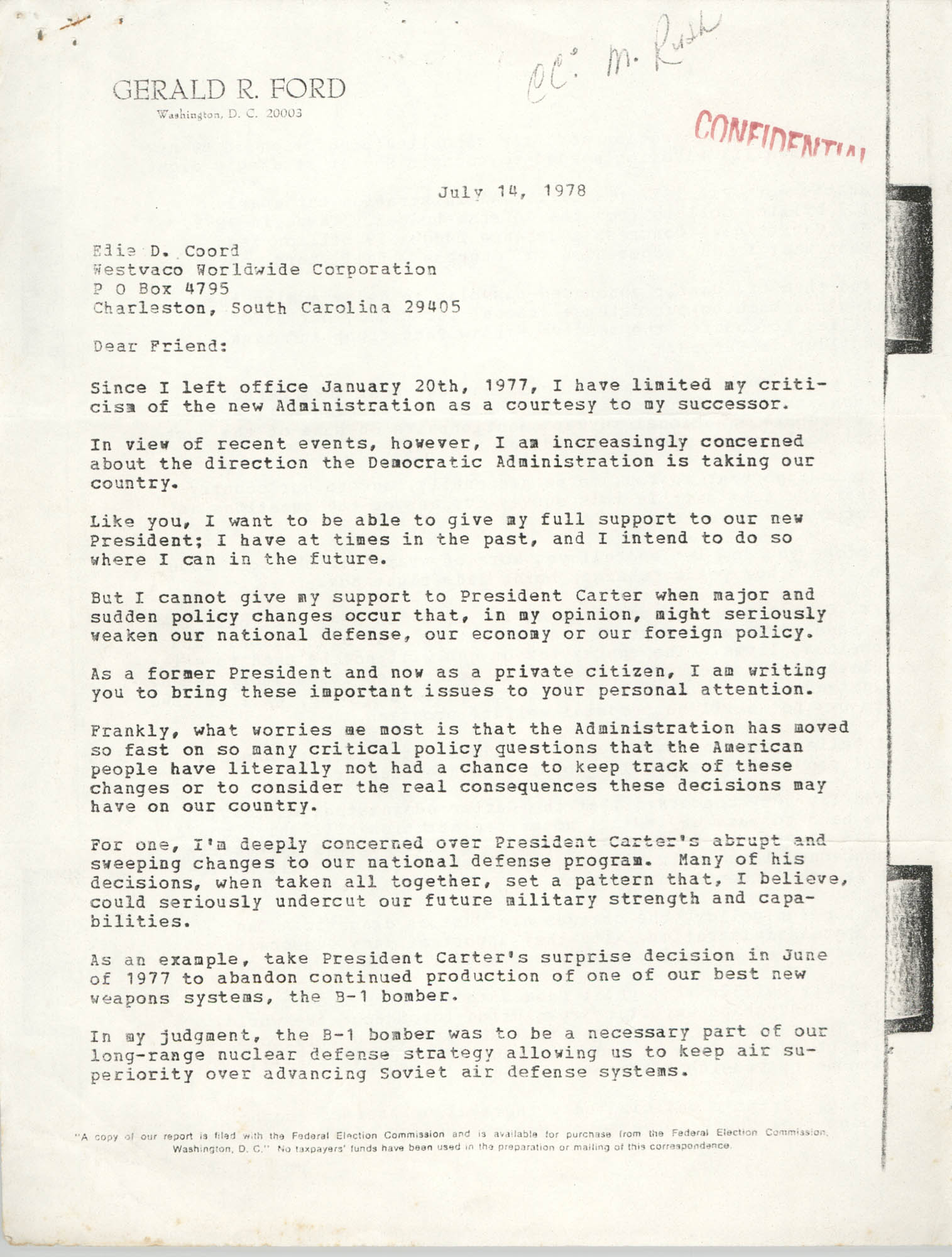 Letter from Gerald R. Ford to Edie D. Coord, July 14, 1978