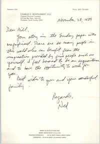 Letter from Charles E. Montgomery to William Saunders, November 28, 1989