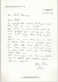 Letter from Ronald Coward to William Saunders, November 27, 1989