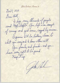 Letter from John Graham Altman, III to Bill Saunders, November 27, 1989