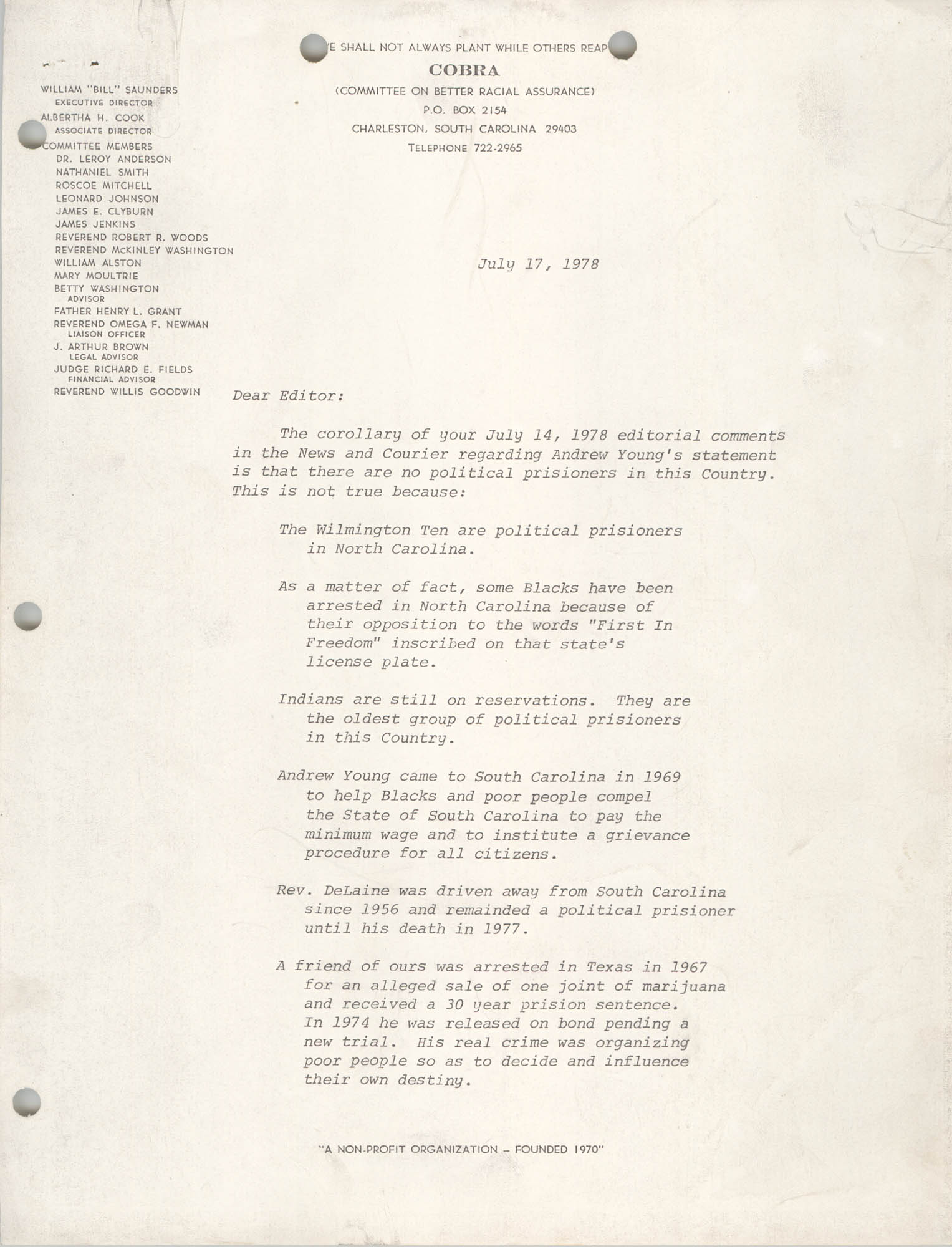 Letter from William Saunders, July 17, 1978