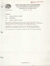 College of Charleston Memorandum, December 18, 1978