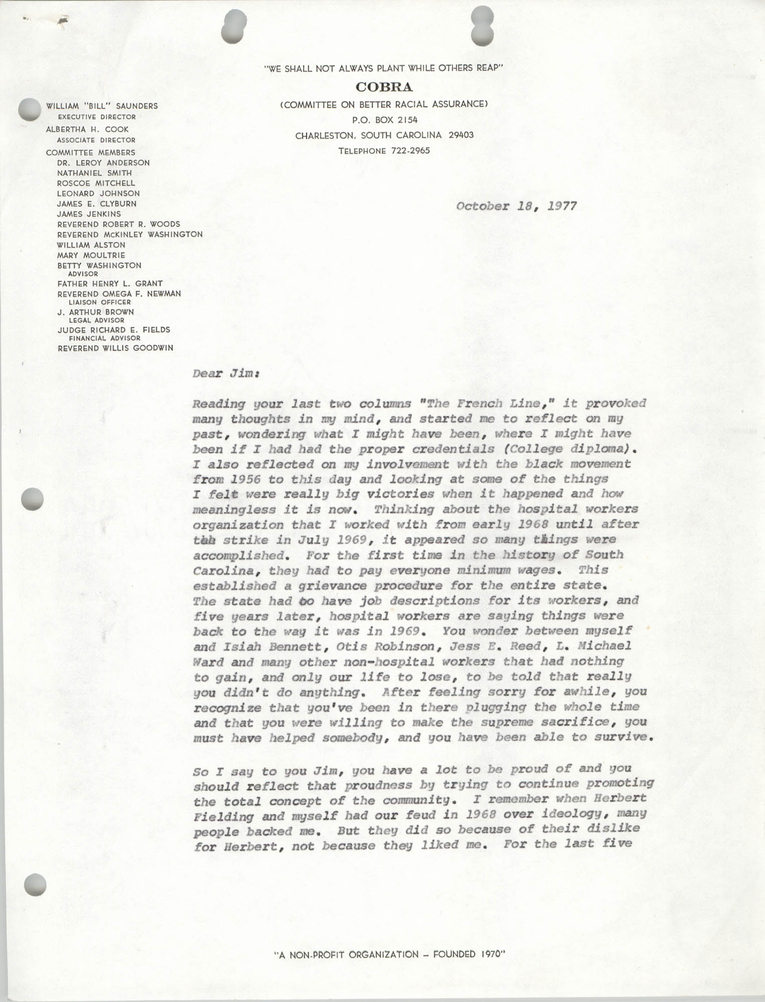 Letter from William Saunders, October 18, 1977