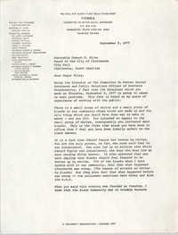 Letter from William Saunders to Joseph P. Riley, September 9, 1977