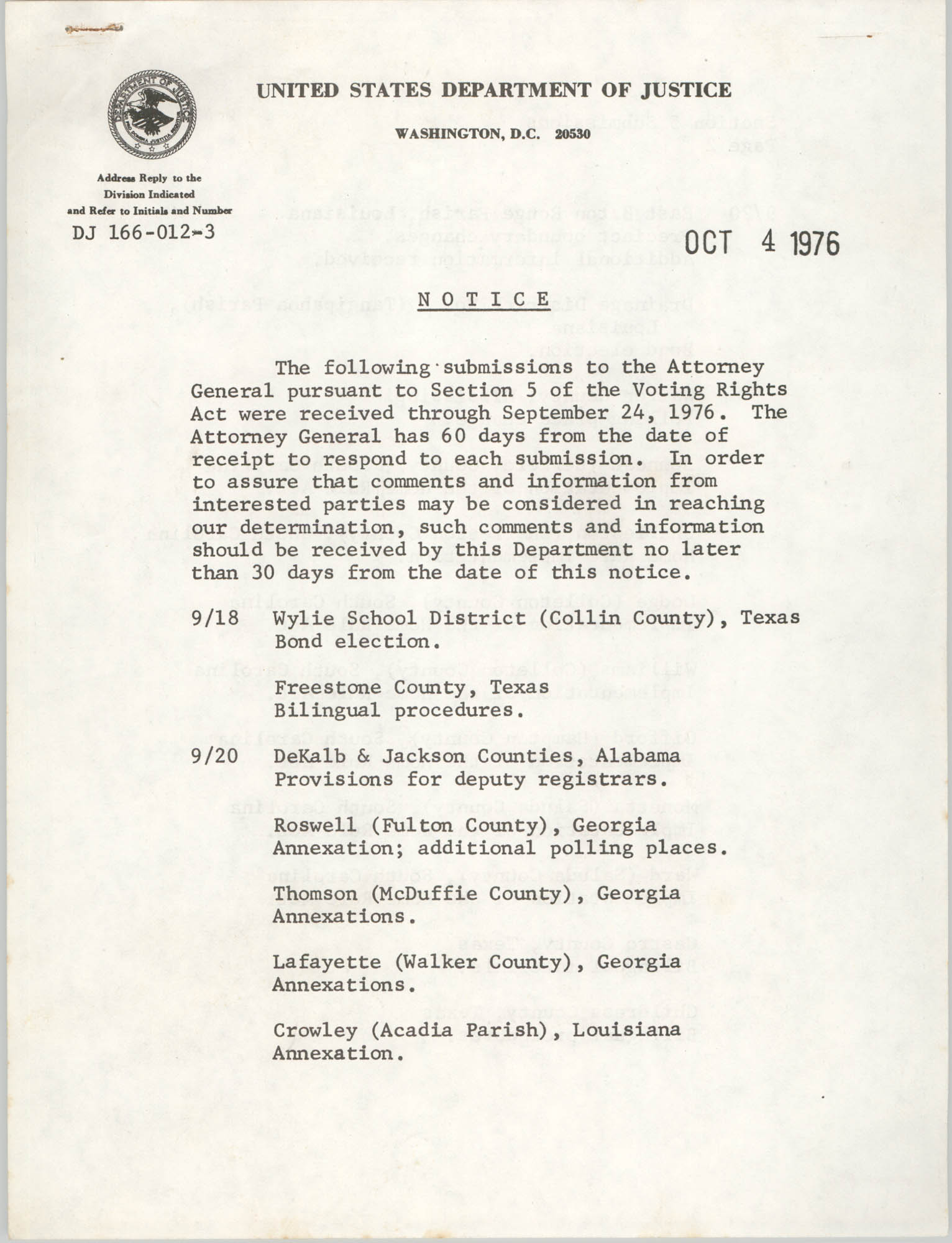United States Department of Justice Notice, October 4, 1976