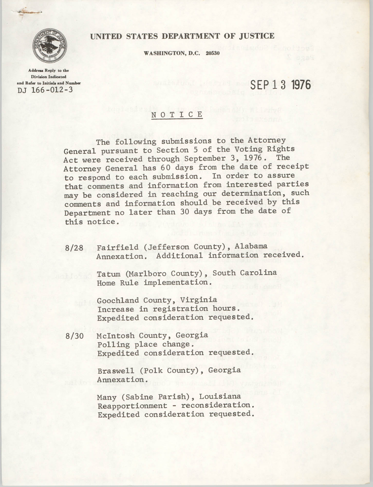 United States Department of Justice Notice, September 13, 1976