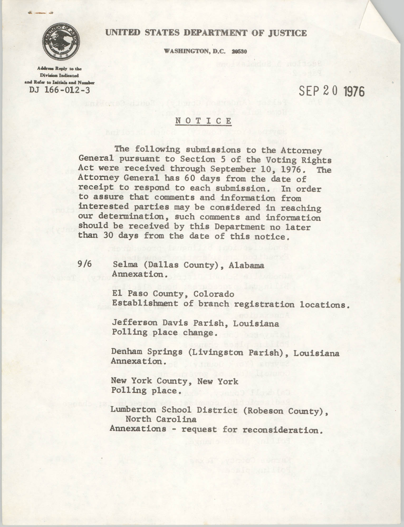 United States Department of Justice Notice, September 20, 1976