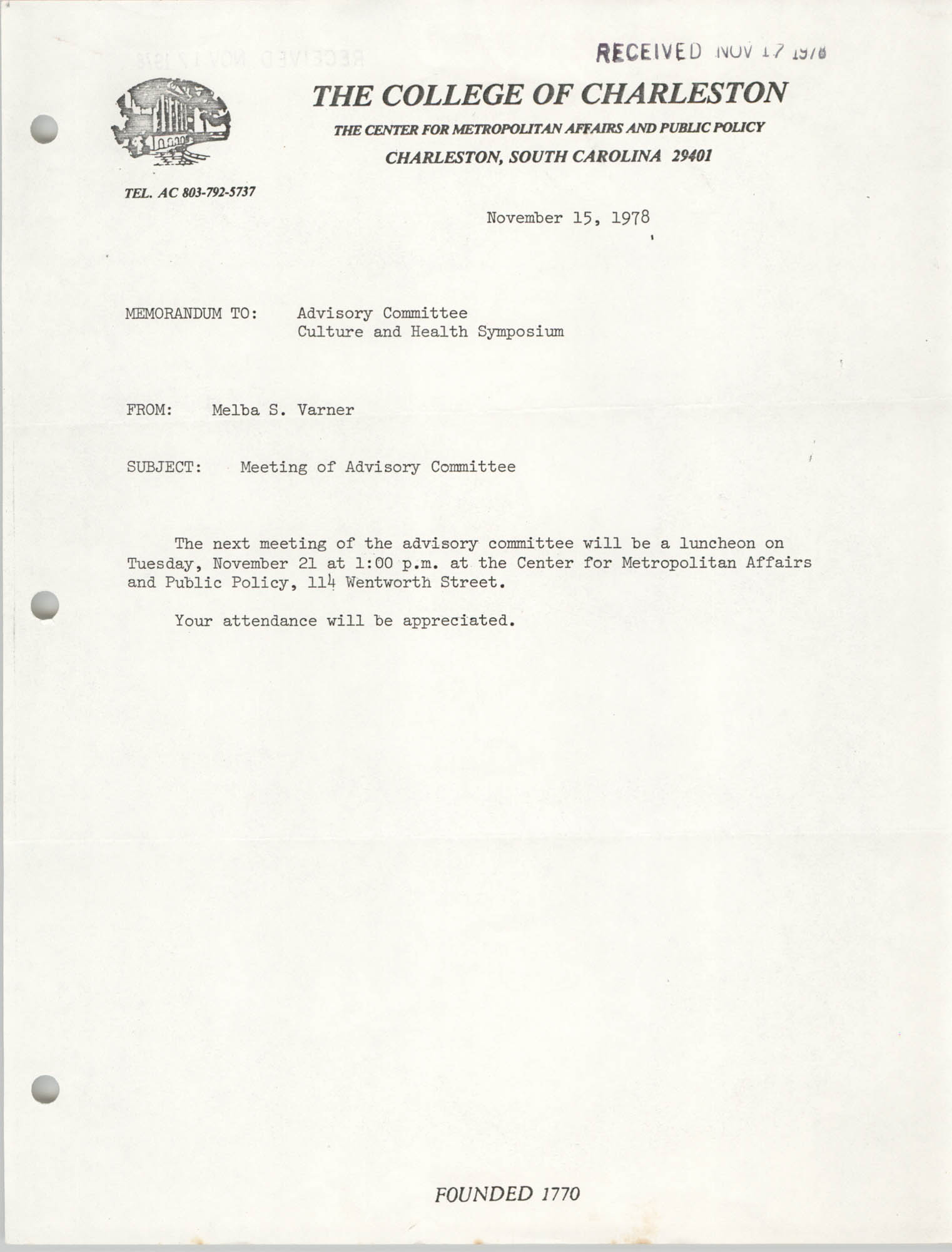 College of Charleston Memorandum, November 15, 1978