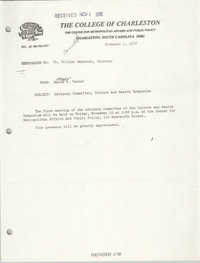 College of Charleston Memorandum, November 1, 1978