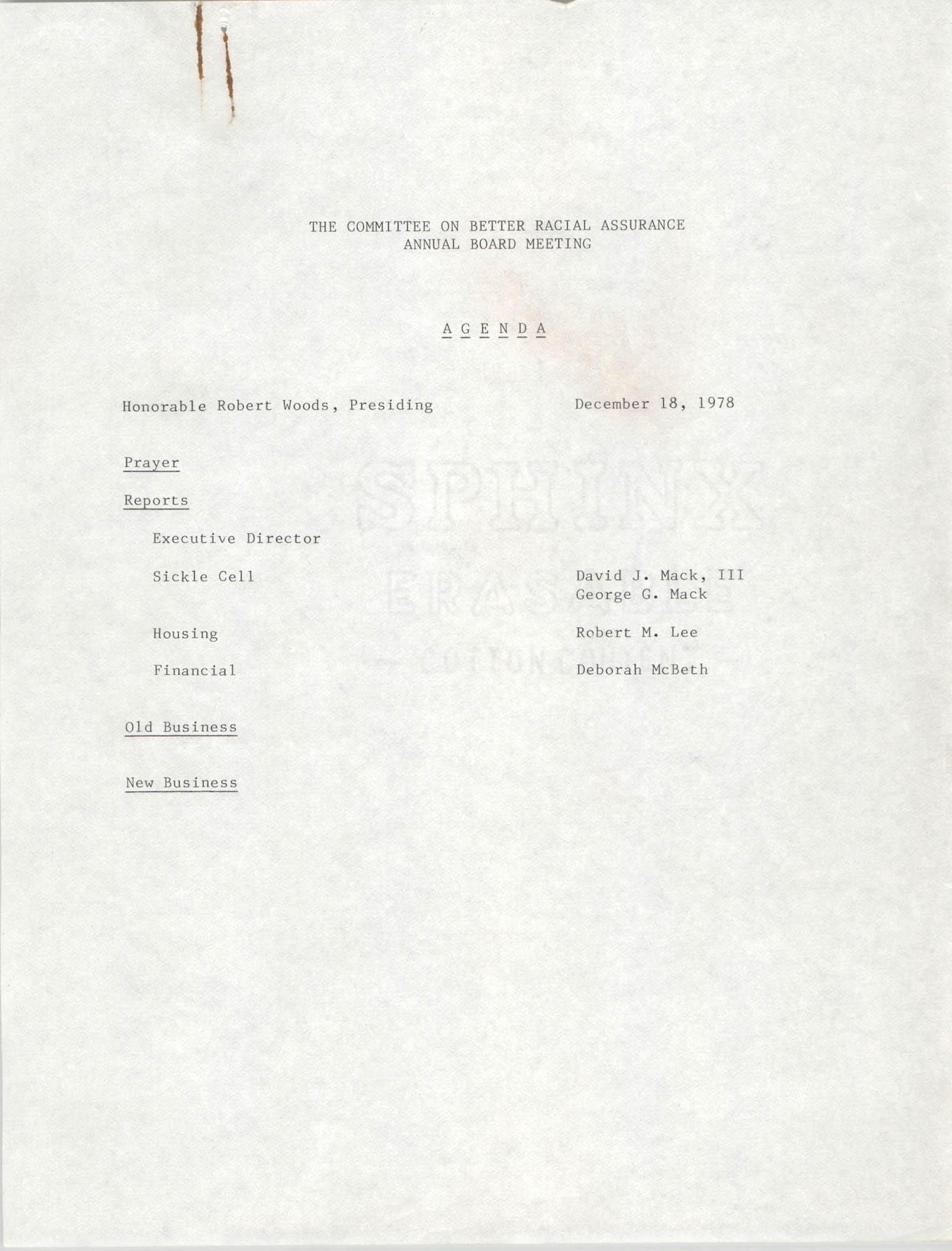 COBRA Agenda, December 18, 1978