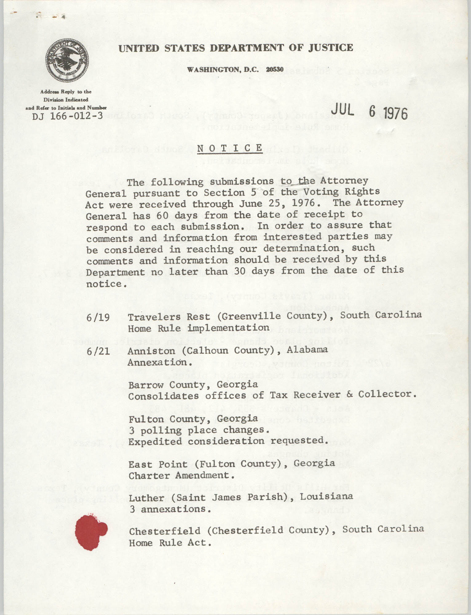 United States Department of Justice Notice, July 6, 1976