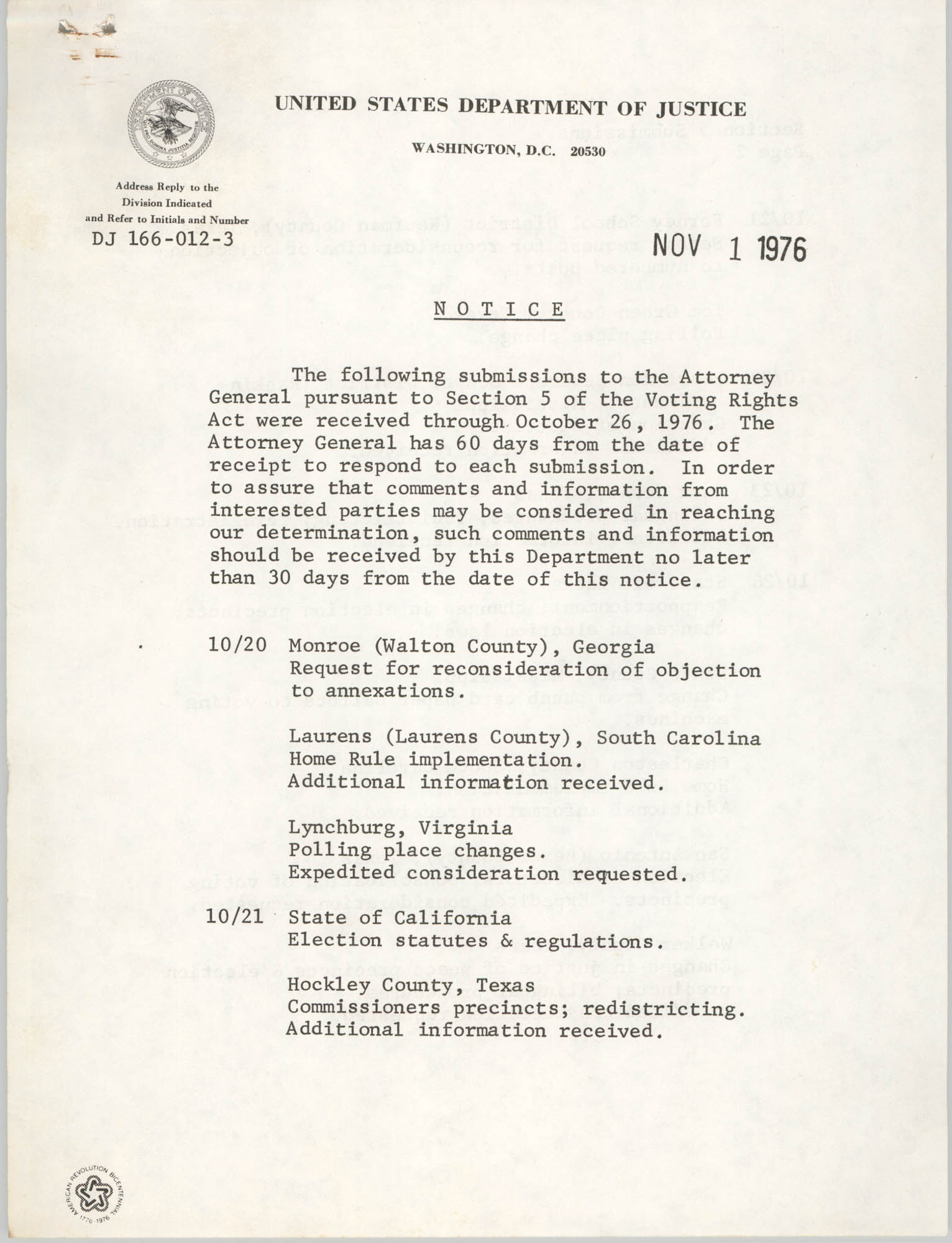 United States Department of Justice Notice, November 1, 1976