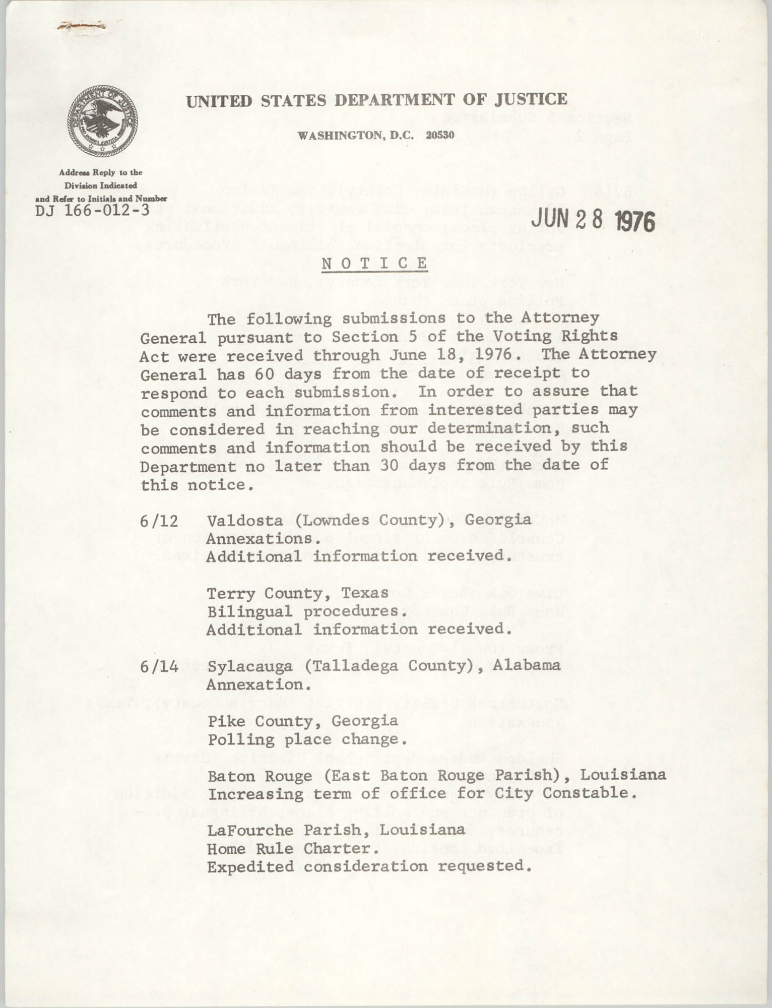 United States Department of Justice Notice, June 28, 1976
