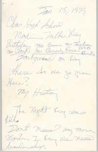 Handwritten Notes, January 15, 1979