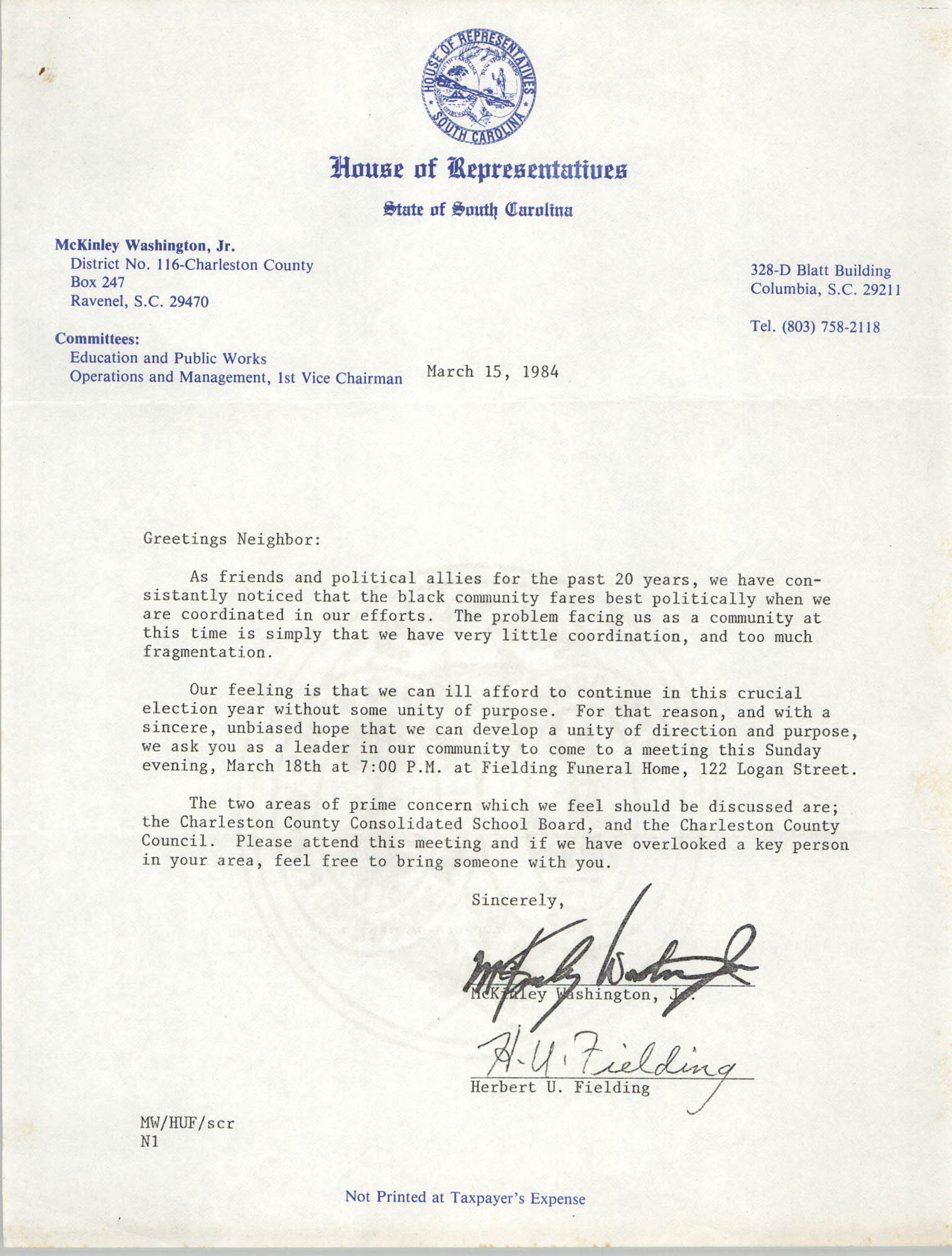 Letter from McKinley Washington, Jr. and Herbert U. Fielding, March 15, 1984