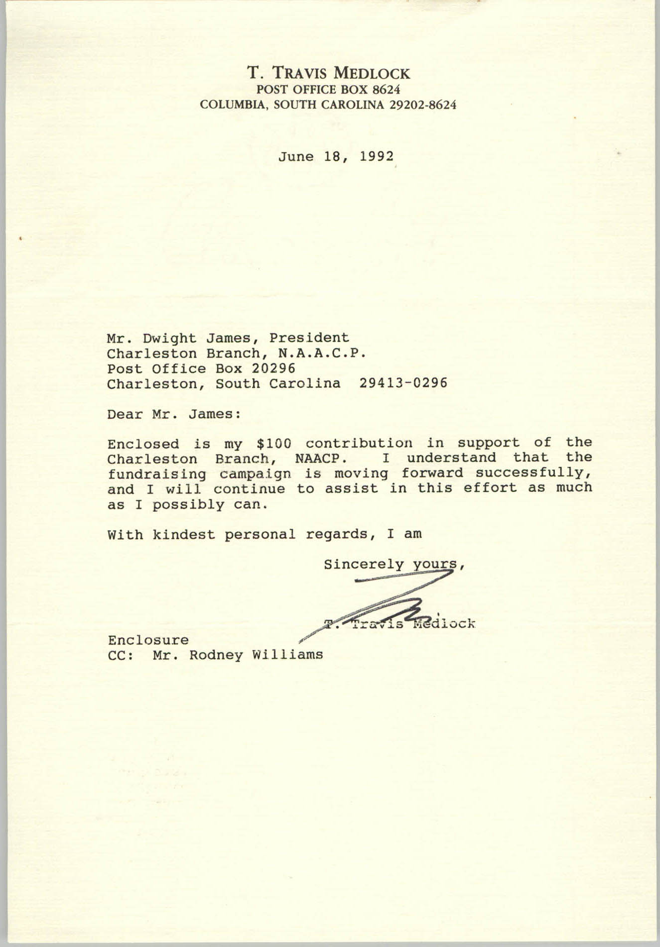 Letter from T. Travis Medlock to Dwight James, June 18, 1992