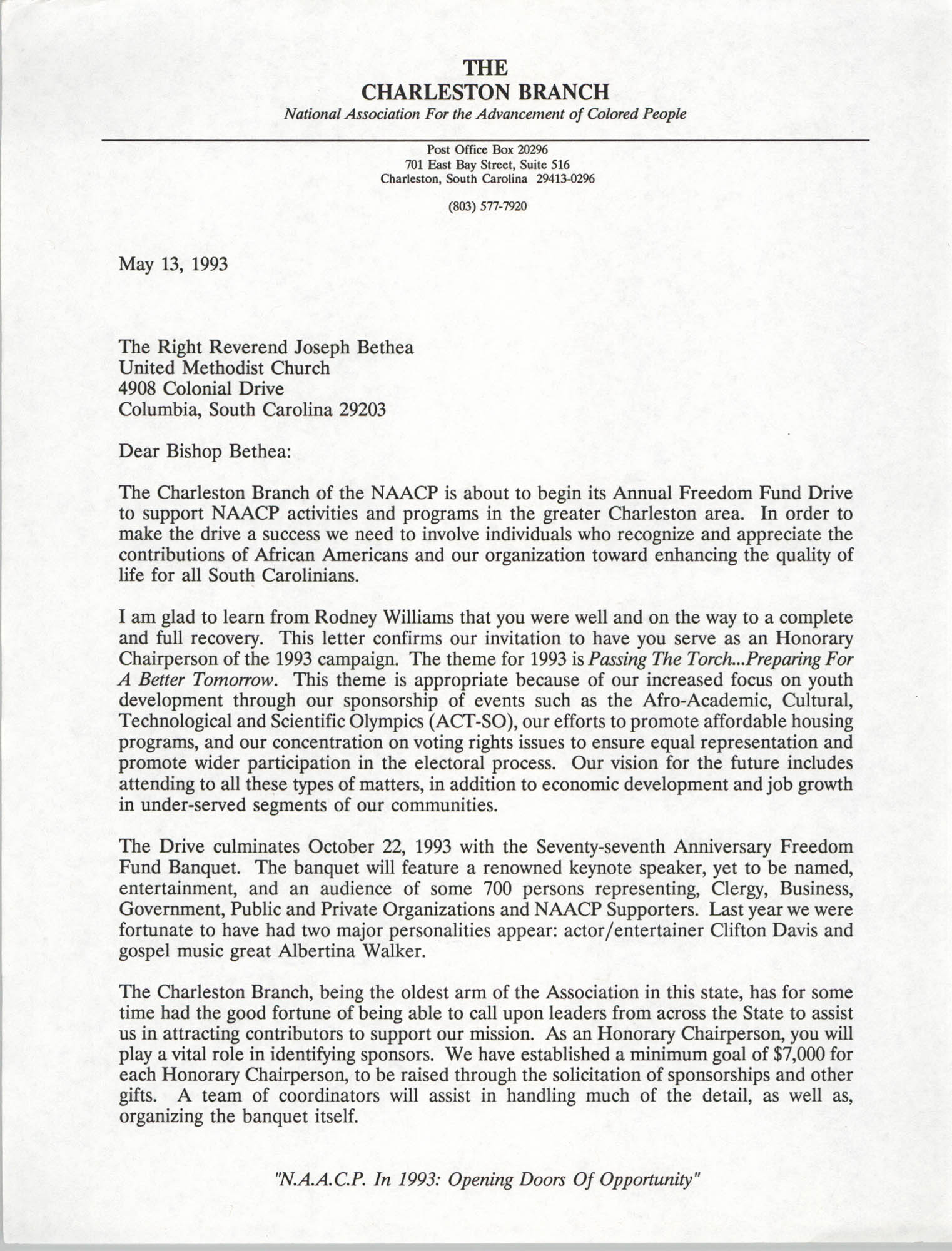 Letter from Dwight C. James to Reverend Joseph Bethea, May 13, 1993