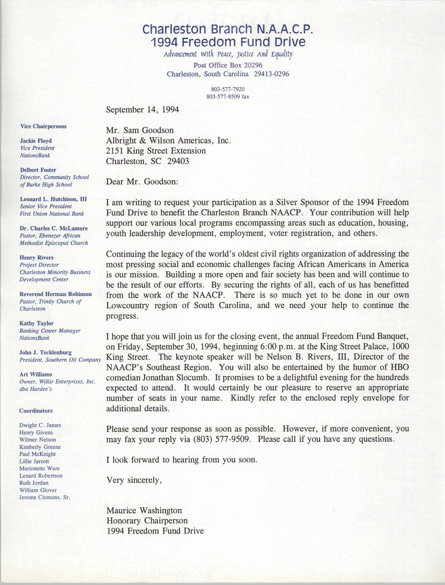 Letter from Maurice Washington to Sam Goodson, September 14, 1994
